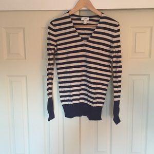 Loft Purple & Ivory Striped V-Neck Sweater